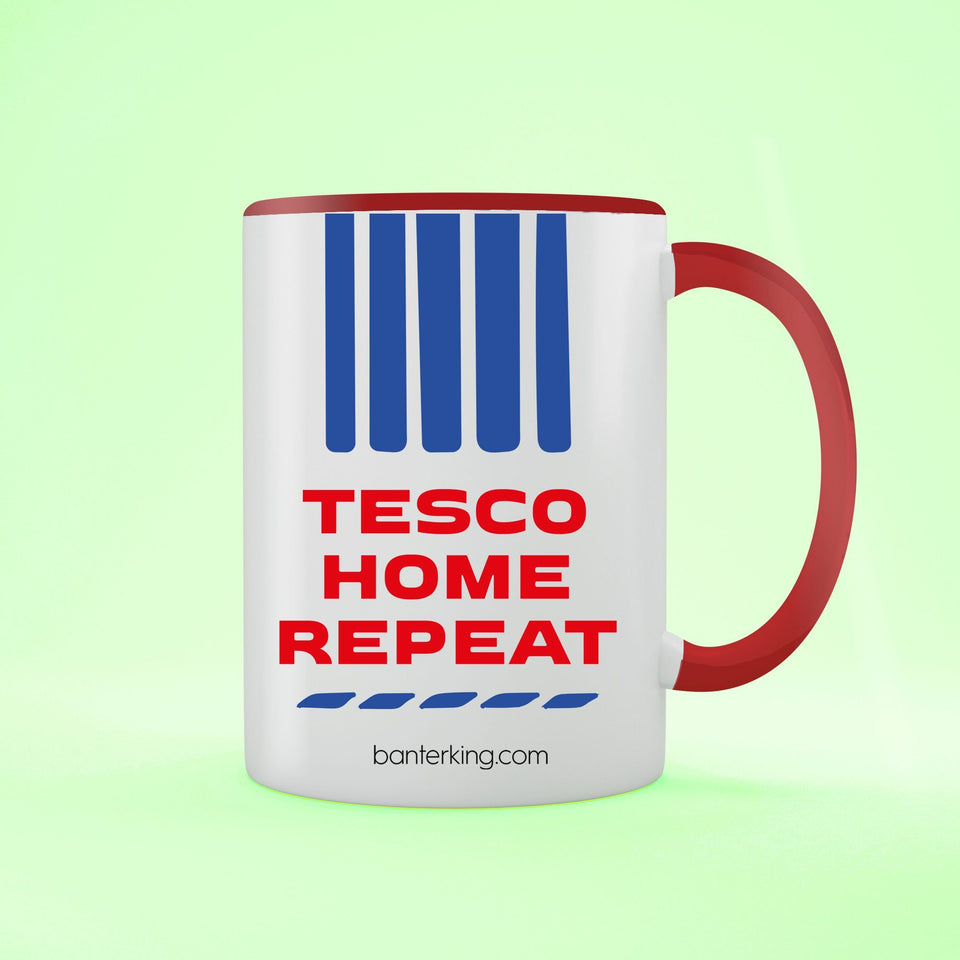 Tesco Home Repeat Two Toned Large 11oz Mug Mug Inkthreadable Red