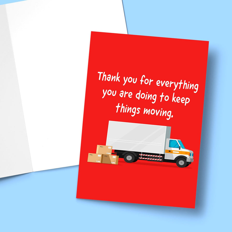 "Thank You For Keeping Things Moving Card Stationery Prodigi 5""x7"" 1 Card"