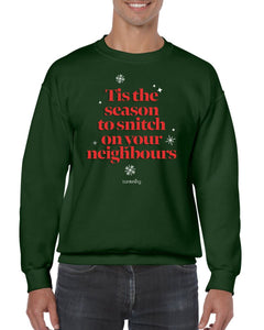 Tis The Season To Snitch, Christmas Jumper (Unisex) Jumper BanterKing Small Green
