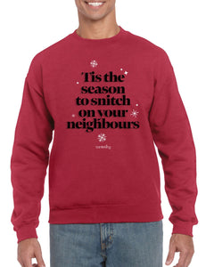 Tis The Season To Snitch, Christmas Jumper (Unisex) Jumper BanterKing Small Red