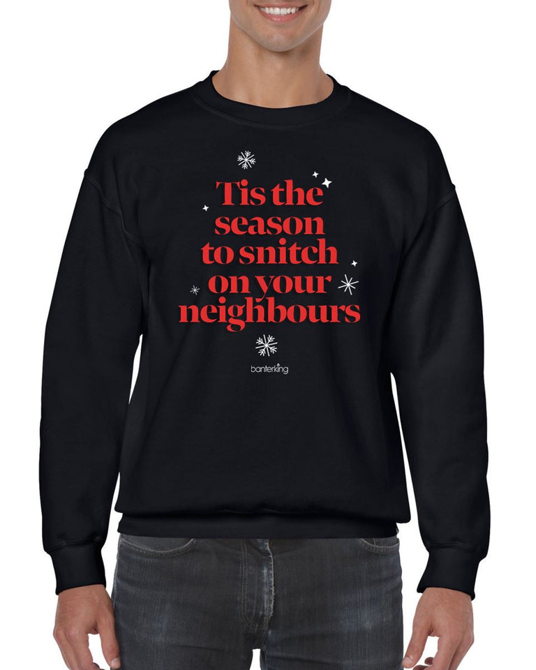 Tis The Season To Snitch, Christmas Jumper (Unisex) Jumper BanterKing Small Black
