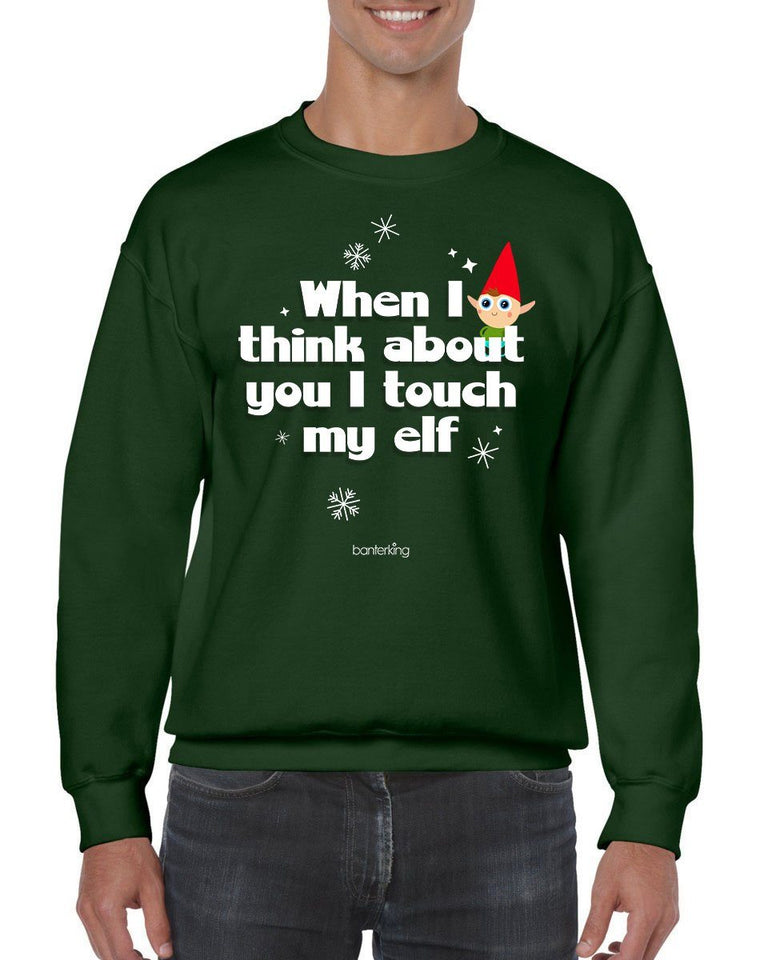 Touch My Elf, Christmas Jumper (Unisex) Jumper BanterKing Small Green