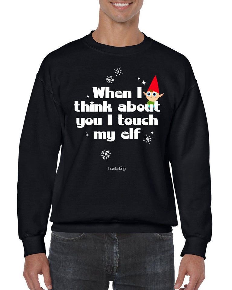 Touch My Elf, Christmas Jumper (Unisex) Jumper BanterKing Small Black