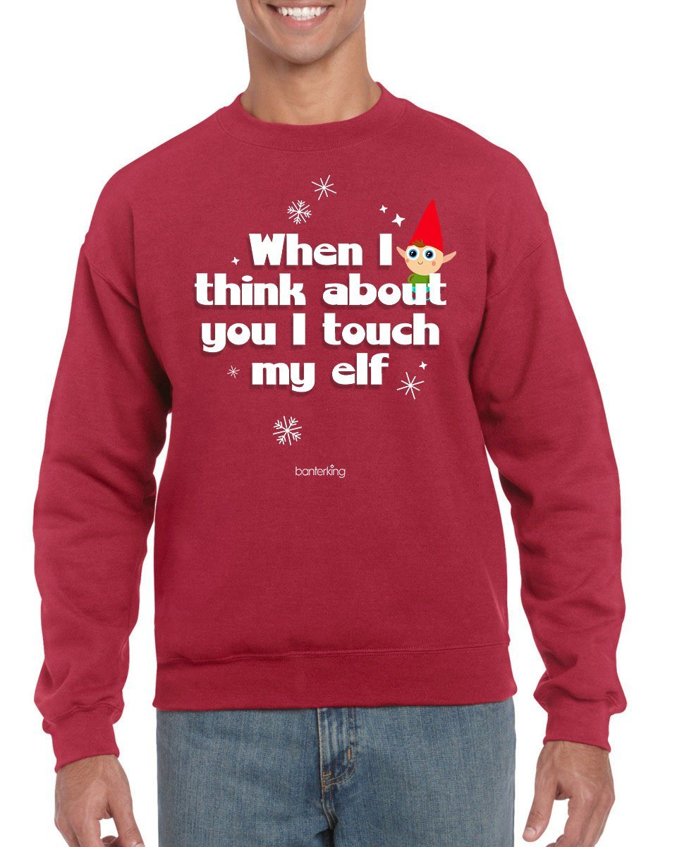 Touch My Elf, Christmas Jumper (Unisex) Jumper BanterKing Small Red