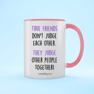 True Friends Two Toned 11oz Farther's Day Mug Mug BanterKing Pink 1 MUG