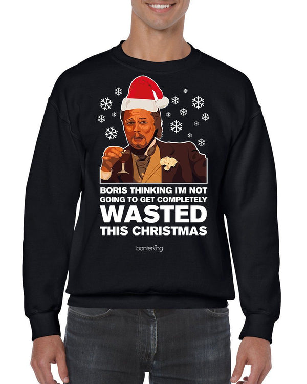 Wasted Leo, Christmas Jumper (Unisex) Jumper BanterKing Small Black