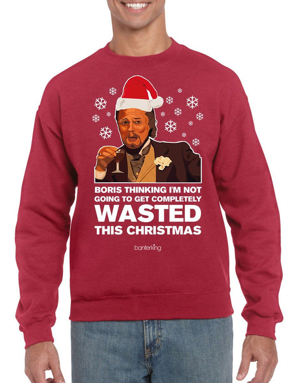 Wasted Leo, Christmas Jumper (Unisex) Jumper BanterKing Small Grey
