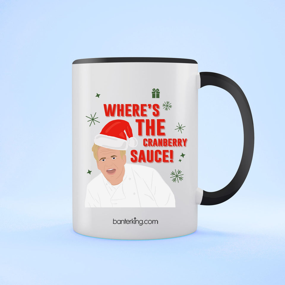 Where's The Sauce, Two Toned 11oz Mug Mug BanterKing Black