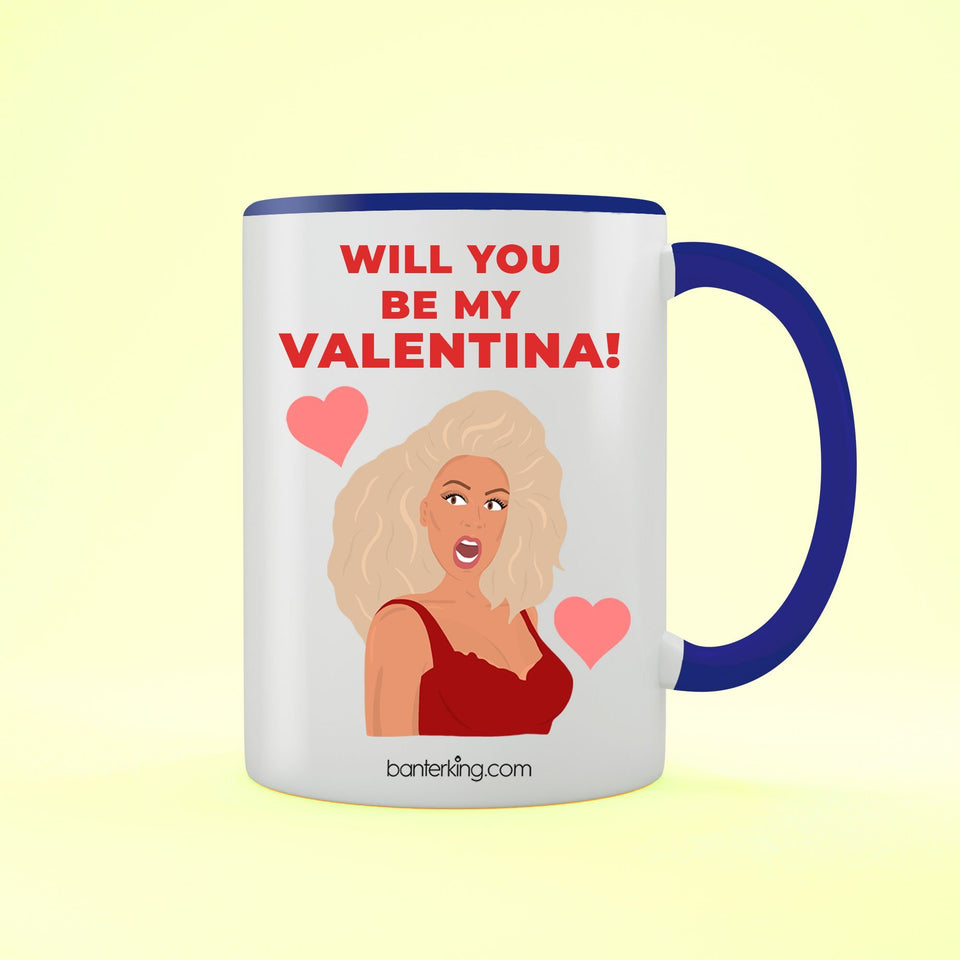 Will You Be My Valentina, Valentine's Two Toned Large 11oz Mug Mug BanterKing Blue