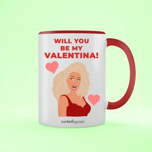 Will You Be My Valentina, Valentine's Two Toned Large 11oz Mug Mug Inkthreadable Red