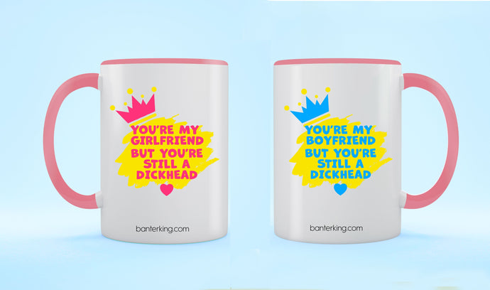 X2, TWO TONED LARGE 11 OZ HE'S/SHE'S A DHEAD MUG SET Mug BanterKing Pink 1 MUG SET
