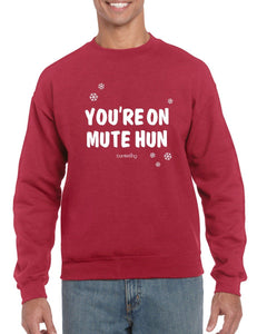 Your On Mute Hun, Christmas Jumper (Unisex) Jumper BanterKing Small Red