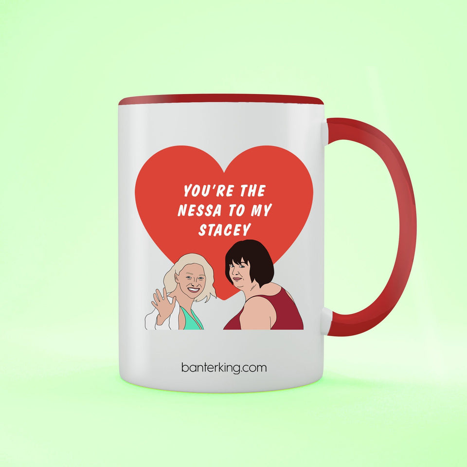 You're The Nessa To My Stacey Two Toned Large 11oz Mug Mug BanterKing Red