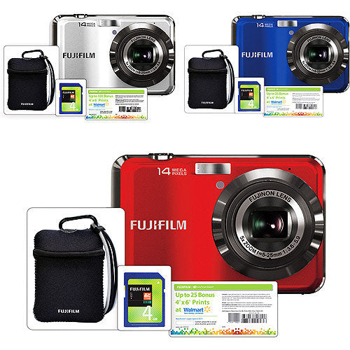 "Fujifilm AX250 14MP Digital Camera Bundle, 5x Optical Zoom, 2.7"" LCD, HD Movie, Image Stabilization, Includes 4GB SDHC Card, Camera Case"