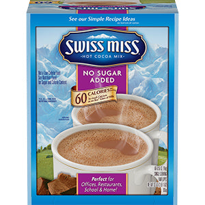 Swiss Miss No Sugar Added Hot Chocolate Mix, 60 ct