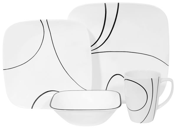 CORELLE Square Simple Lines 16-pc Set