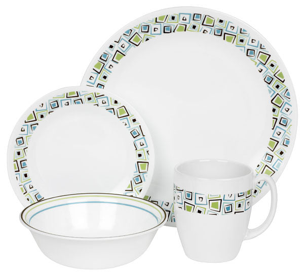 CORELLE Livingware Chocolate Mint 16-pc Set
