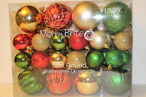 Merry Bright 52ct Round Shatterproof Ornament