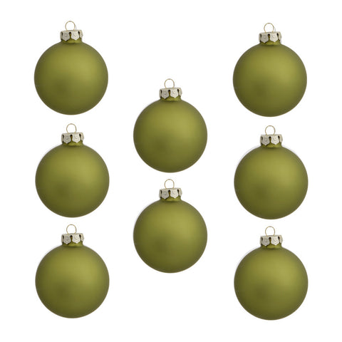 Holiday Living 8-Pack Green Matte Glass Ornament Set