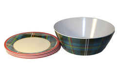 Christmas Plate & Serving Bowl Set 5-pc
