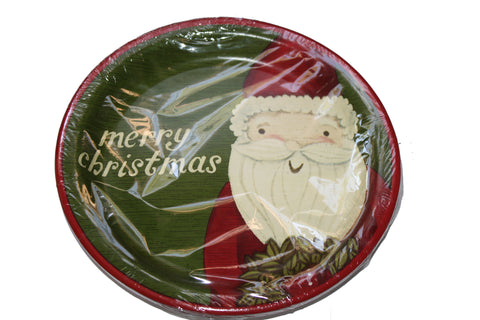 Santa Medium Paper Plates - 12 Counts