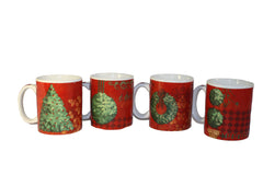 Christmas Mug & Dessert Plate Set of 4 (8 Pcs Total)