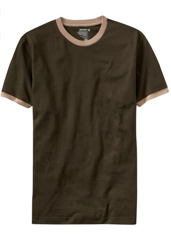 Old Navy's Men's Ringer Tees Beige/Brown (S)