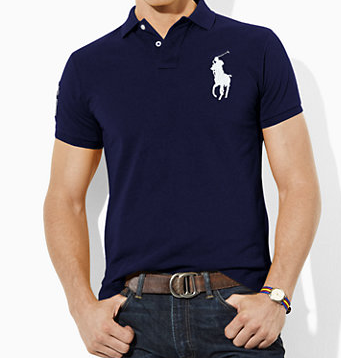 Polo Ralph Lauren Tall Custom-Fit Big Pony Polo-Navy Blue