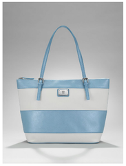 New York & Co. Union Square Striped Large Shopper Tote-Sky Blue
