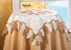 Two Tone Scalloped Lace Table Linens-Square