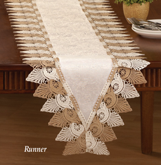 Two Tone Scalloped Lace Table Linens-Runner