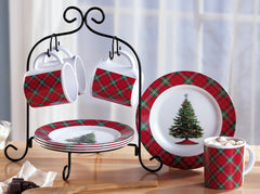 Holiday Plaid Dessert Serving Set