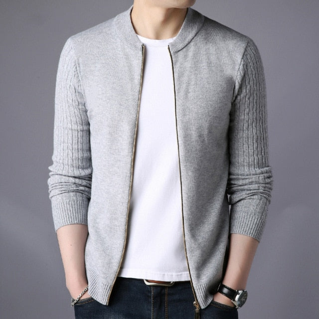 Autumn Winter 2020 Chic Knitted Round Neck Zipper Cardigan