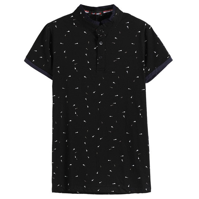 2019 Men's Summer Guitar Printed Stand Collar Cotton Polo Shirt