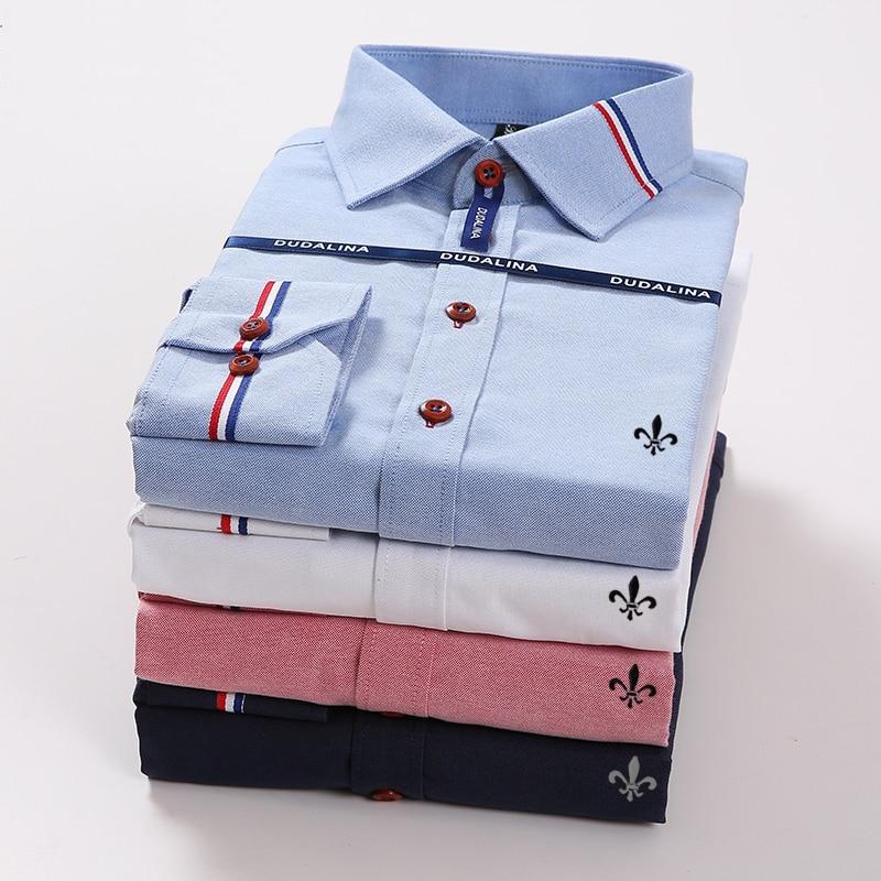 New Arrival Slim Fit Long Sleeve Blue White Red Striped Casual Shirt Chemise