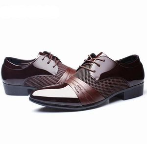MFCA - Men's Leather Business Flat Black & Brown Breathable Shoes