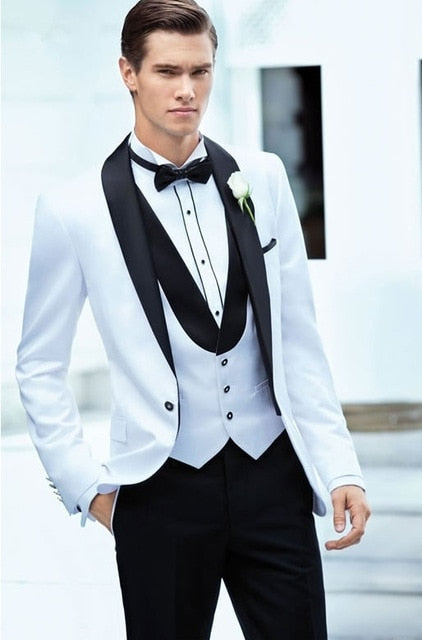 Elegant Men's Black & White Wedding 3-Pieces Suit