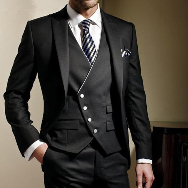 New Fashion Men's Handsome Wedding Suit - Black