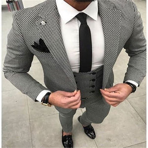 Handsome Men's Slim Fit 3-Pieces Suit - Gray