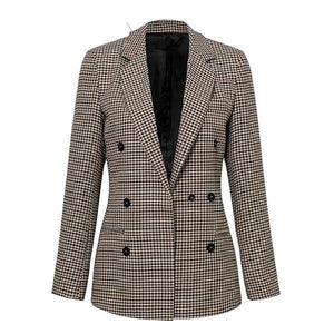 WCCA - Fashion double breasted plaid blazer