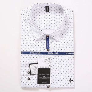 Polka Dot Embroidery Men's Slim fit Long Sleeve Shirt Chemise
