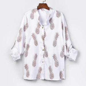 WCCA - elegant white long sleeve pineapple printing blouse