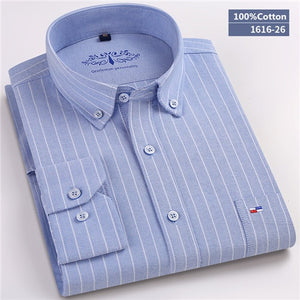 100% Cotton Plaid/Striped Long Sleeve Business Shirts Chemises