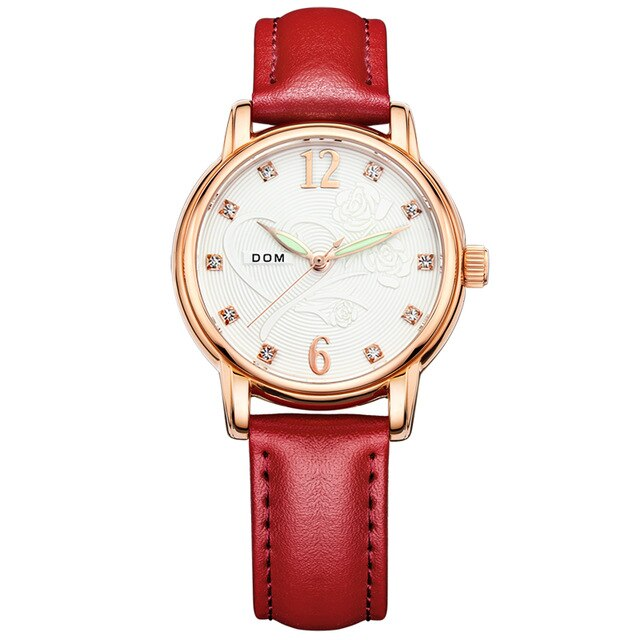 WWA - Ladies Rose Gold Genuine Leather Watch - D4223