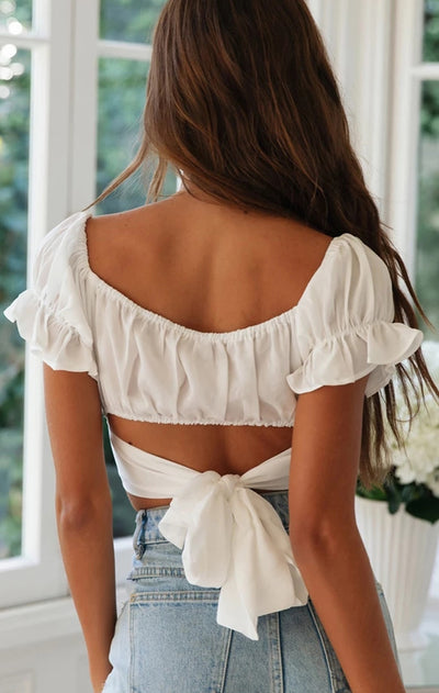 WCL - Amazing Short Sleeves Off-The-Shoulder Crop Top Shirt