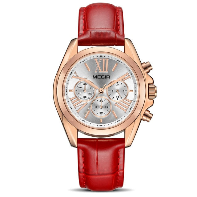 WWA - Amazing Leather Band Ladies Watch - D7764