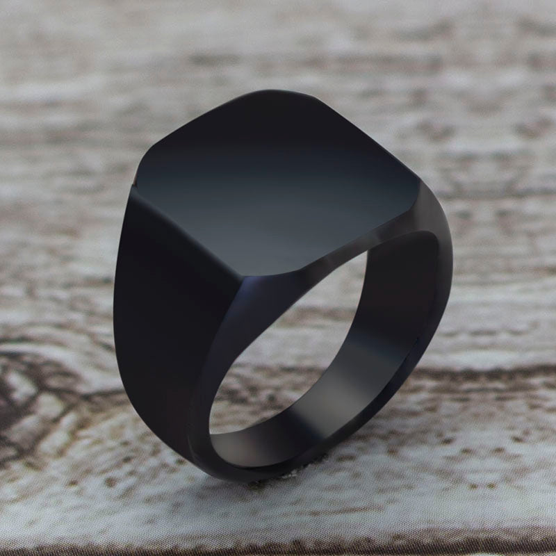 MWA - Beautiful Square Big Width Signet Black Ring