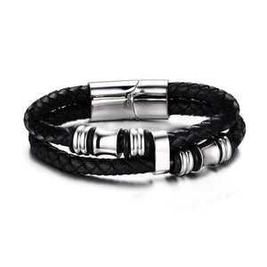 Double Braided Rope Leather Brown Bracelet for Men