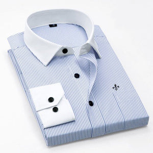 Elegant Striped Pocket Men Slim Fit Men Long Sleeve Shirt Chemise