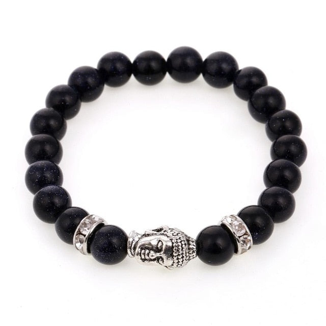 Natural Stones Buddha Head Bracelet For Men